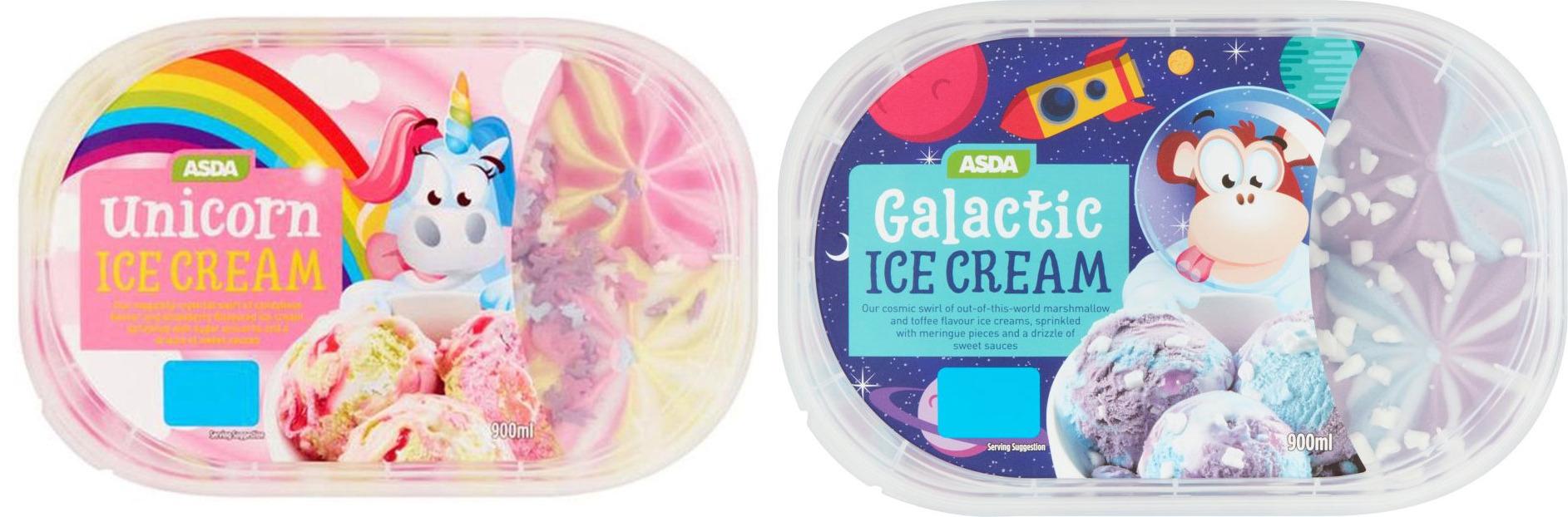 ASDA Unicorn /  Galactic Ice Cream 900ml New £2 @ Asda - Also 2 For £3