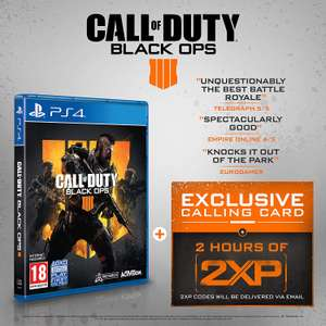 Call of Duty : Black Ops 4 with 2 Hours of 2XP + an Exclusive Calling Card (Exclusive to Amazon.co.uk) (PS4) for £19.99 delivered @ Amazon