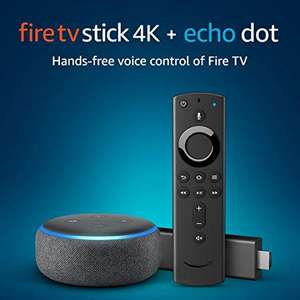 Amazon Fire TV Stick 4K UHD with All-New Alexa Voice Remote + Echo Dot (3rd Gen) SAVE £20 WHEN BOUGHT TOGETHER £74.98 @ Amazon