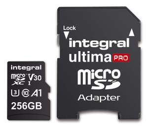ENDS TODAY :Integral 256GB micro SD card microSDXC V30 A1 UHS-I U3 FOR £22.75 Delivered Prime Exclusive (with code) @  Amazon Uk