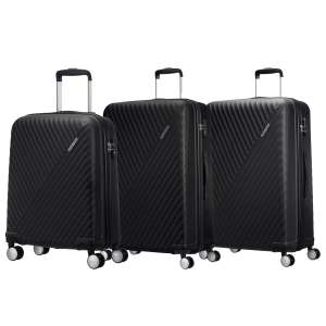 American Tourist Visby 3 Piece hardside suitcase set £99.98 at costco, in black and raspberry
