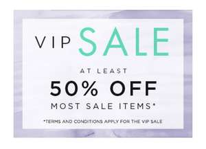 NEXT VIP SALE at least 50% off most sale items -  Book a VIP slot now! (for selected customers) VIP sale from 21st General sale from 23rd