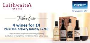 4 x 187ml Taster Wines for £4 plus free delivery at Laithwaites (o2 Priority new customer offer)