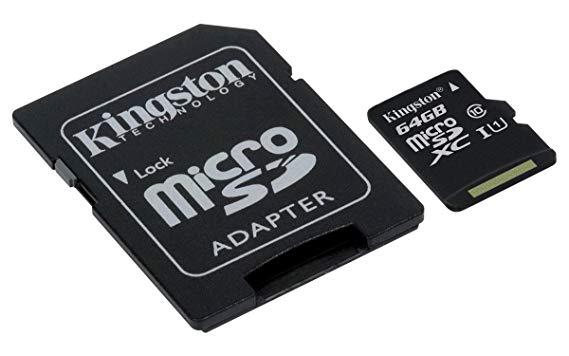 Kingston Micro SD Card 64 GB With Adapter @ Amazon - £7.99 Prime / £12.48 non-Prime