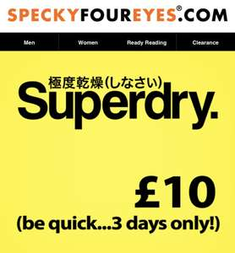 Flash Sale - £10 Superdry Glasses (£20 Sunglasses) - SpeckyFourEyes.com + £4.99 P&P