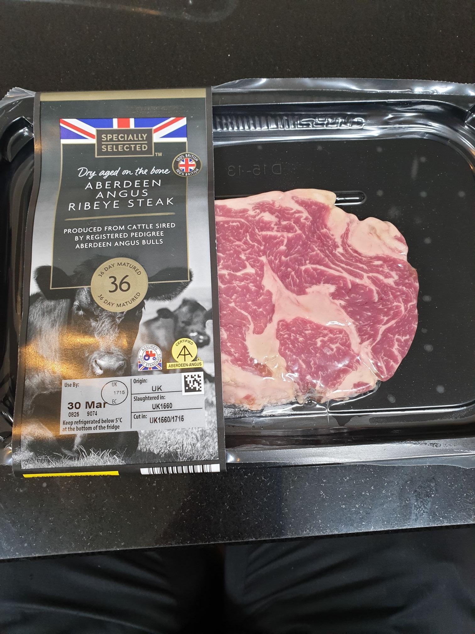 Aberdeen Angus 21 day aged rib eye steak and matured to 36 days instore at Aldi £4.49