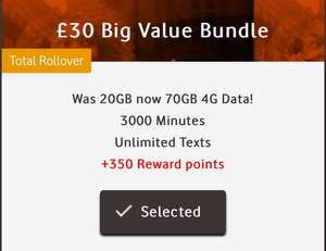 £30 for 70gb data PAYG SIM Only