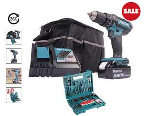Makita DHP482 Combi Drill 1 x 4Ah Battery, Charger & Case + Free 100 Piece Drill/Driver Set £ 119.99 Delivered @ ITS