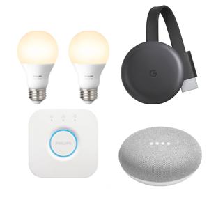 Google Chromecast + Google Mini + Philips Hue White E27 Starter Kit (two E27 white bulbs & Phillips Bridge) = £86 @ AO