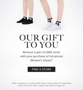 Receive a pair of UGG socks with your purchase of full priced women's shoes