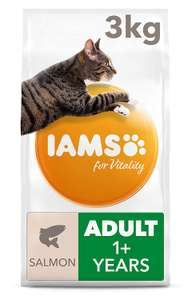 Iams for Vitality Cat Food with Salmon for Adult Cats, 3 kg now £8 delivered with Prime (only) at Amazon