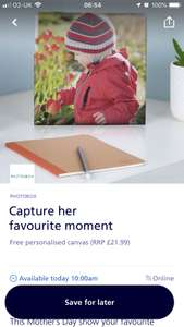 O2 Priority Free Canvas 30x30 from Photobox - £4.95 delivery