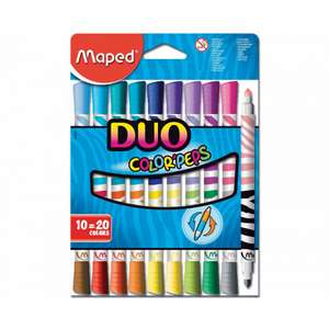 Maped Color Peps Duo Colour Felt Tips - Pack of 10 (20 Colours) was £5.89 now £2.89 C+C @ Ryman - more Better Than 1/2 Price in OP