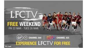LFCTV Free on Sky and Virgin until 26th March