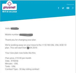 Plusnet retention deal £10pm UNLIMITED minutes, UNLIMITED texts, 8GB data (30 days contract)