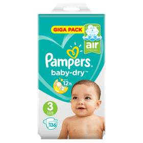 Very cheap Pampers nappies - Huge Giga Pack 136 pack from £11.59. 0.09p per unit @ Costco