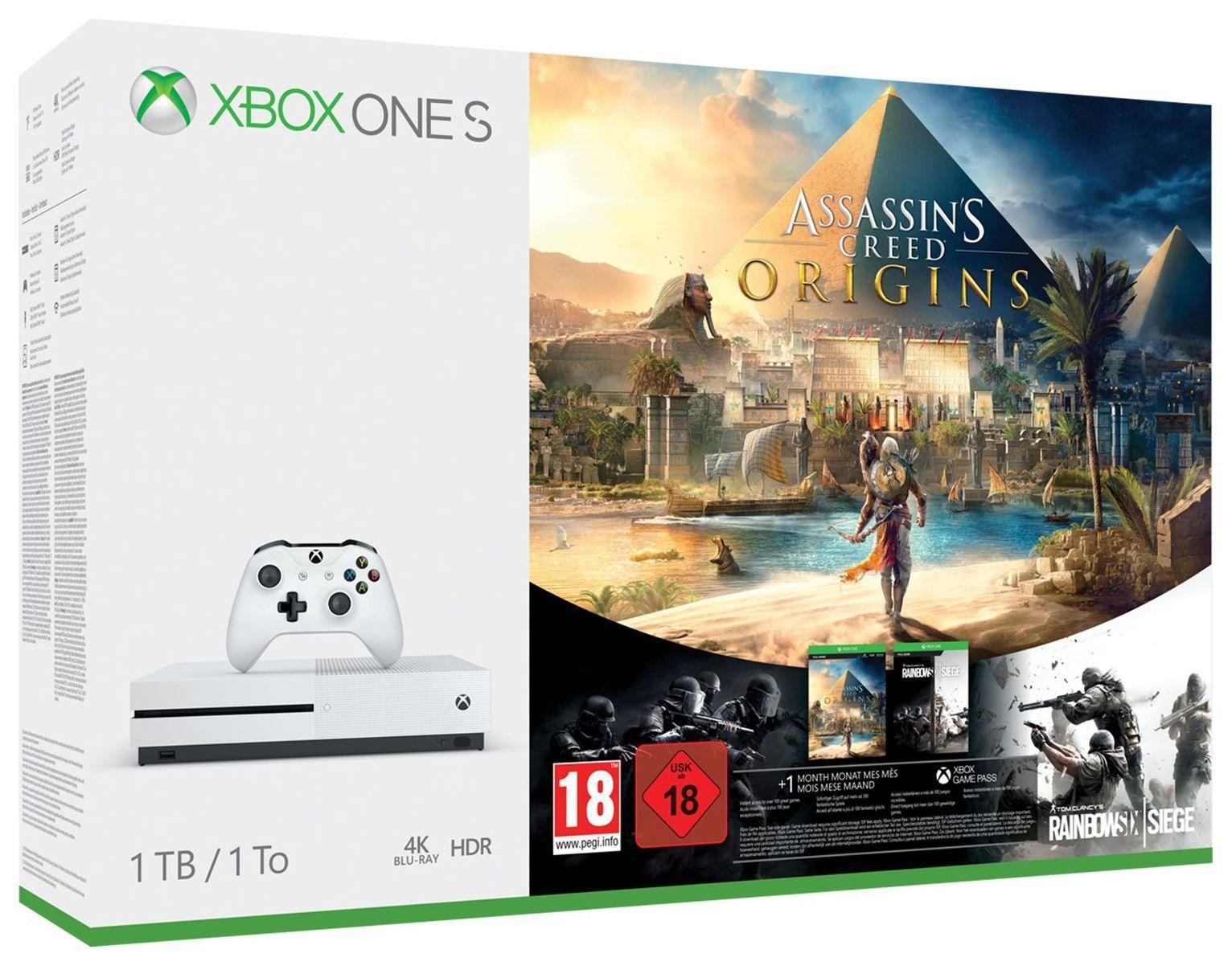 Xbox One S 1TB Assassin's Creed Origins & Rainbow 6 Siege Console Bundle - White, £214.99 at Argos/eBay