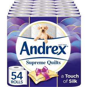 Andrex Supreme Quilts Toilet Tissue, 54 Rolls for £19.99 prime(SnS £18.99) (Non Prime add 1p sim Card) Delivered @ Amazon UK