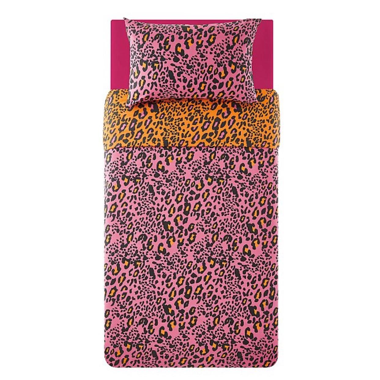 Pink leopard print single bedding £4 c&c @ Asda George