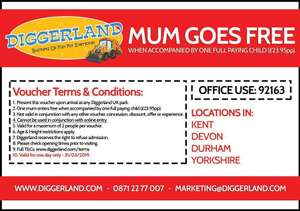 Mums go Free Diggerland when accompanied by one full paying adult on Mothers days