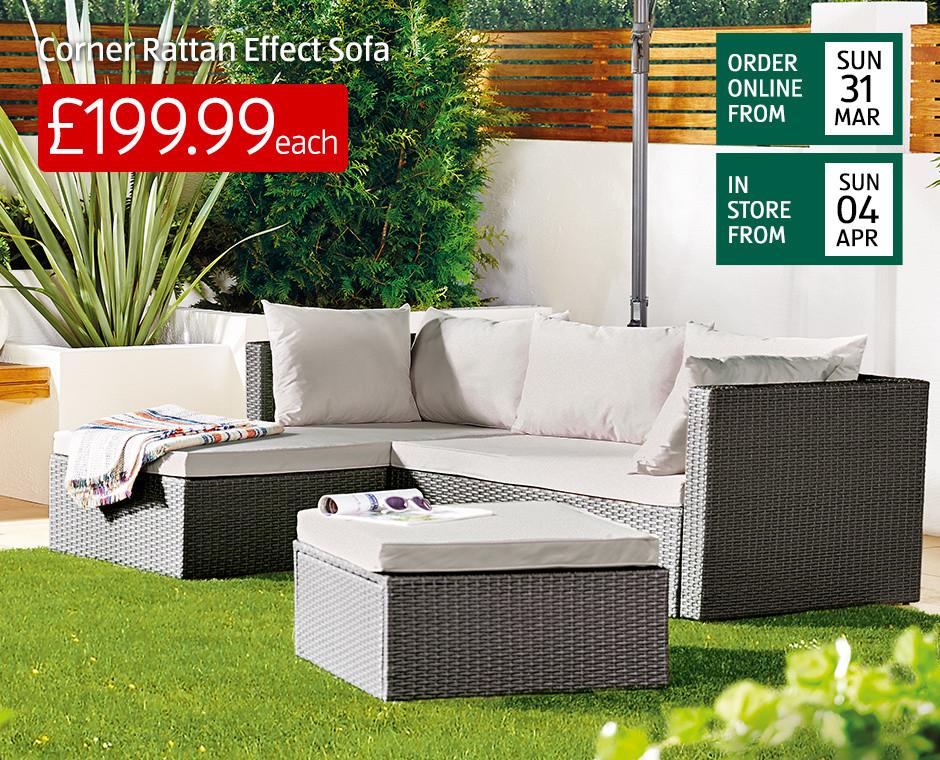 Rattan Effect Garden Corner Sofa - £199.99 @ ALDI