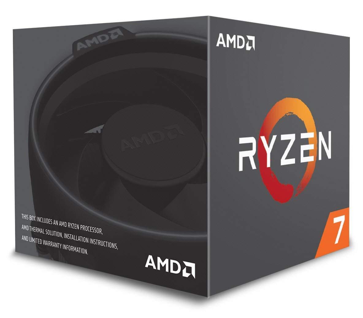 AMD Ryzen 7 2700 - Processor with Wraith Spire LED heatsink (20 MB, 8 cores, 4.1GhZ, 65 W) £186.79 Fee Free card or £195 @ Amazon IT