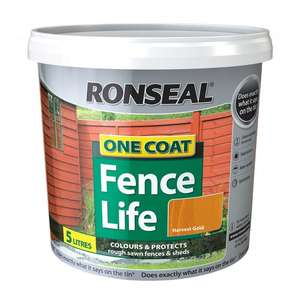 Ronseal 5 Litres One Coat Fence Life Paint : Harvest Gold ( 4 Other Colours ) Now £3.99 @ Poundstretcher