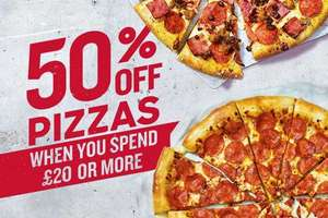 50% off when you spend £20+ @ Pizza Hut