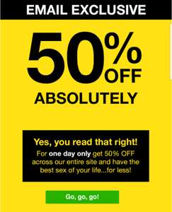 50% off absolutely everything on Lovehoney for one day only