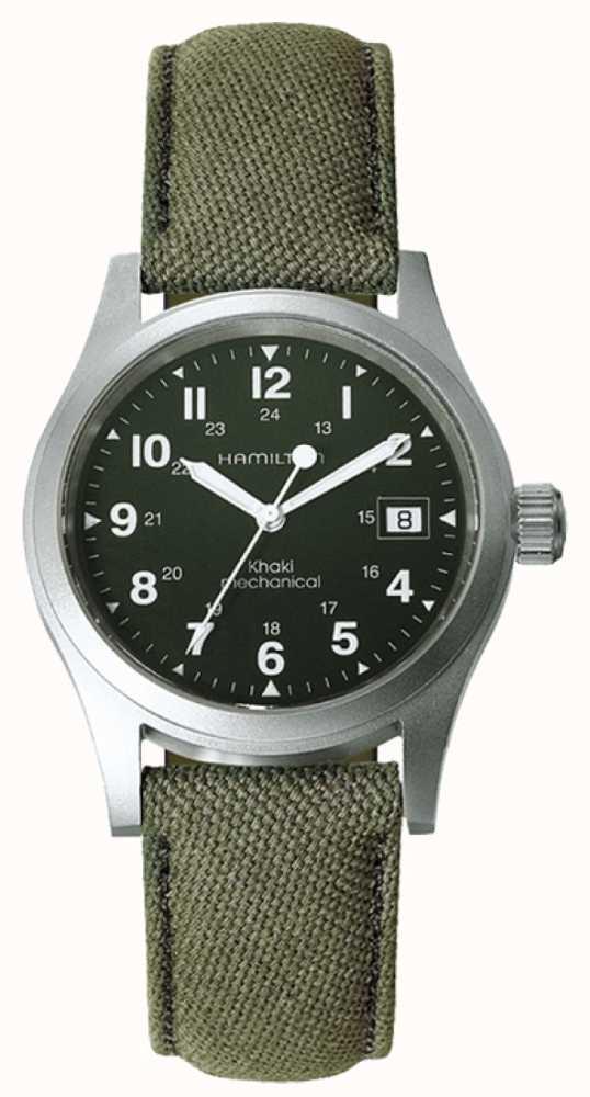 Hamilton Mens Khaki Field Officer Green Dial Khaki Strap Mechanical and Sapphire watch @ First Class Watches £235.13 .