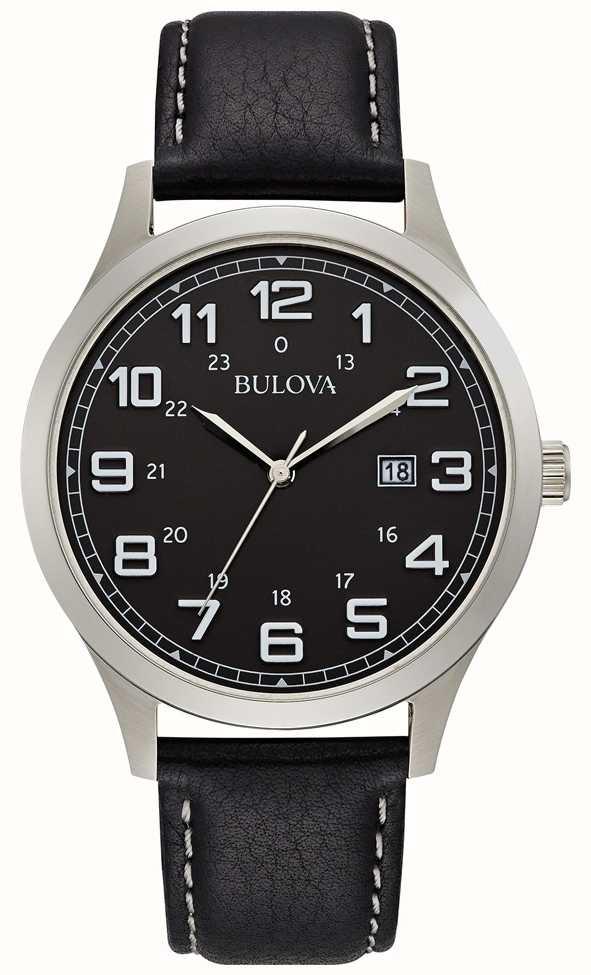 Bulova Mens Dress Watch Black Leather Steel Case £63.65 @ First Class Watches