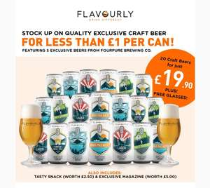 20 Four Pure Craft Beers + Glasses + Snack + Magazine £25.85 Delivered @ Flavourly