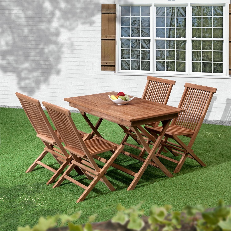 Bali Folding 4 Seat Teak Garden Dining Set @ Gardens And Homes Direct