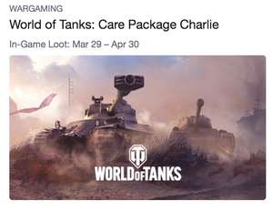World of Tanks (PC) : Free Loot Starting With Care Package Charlie @ Twitch Prime