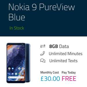 Nokia 9 purview, 8GB EE Max, £30pm/24mths £720, 24M BT sport's inc, free wireless buds (£129), 6mths of Prime video & Apple music BuyMobiles