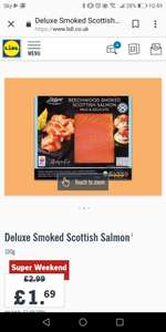 100g smoked salmon £1.69 Lidl weekend deal
