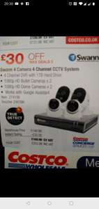 4 Swann CCTV cameras and hard drive instore at Costco for £203.98