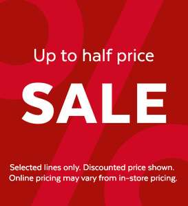 Tu Sainsbury's up to half price sale (selected lines)