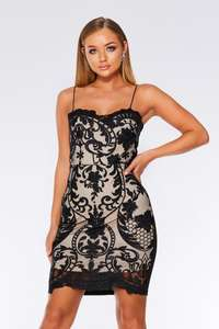 Black And Stone Mesh Bodycon Dress (WAS £36.99) Now £9.99 C&C at Quiz