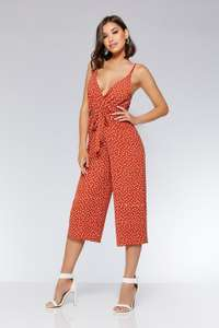 Rust Crepe Polkadot Culotte Jumpsuit (was £32.99) Now £9.99 C&C in the upto 70% Off Sale at Quiz Clothing