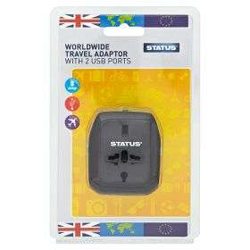 Status Worldwide Travel Adaptor with 2 USB Ports - £1.49 in Asda in-store