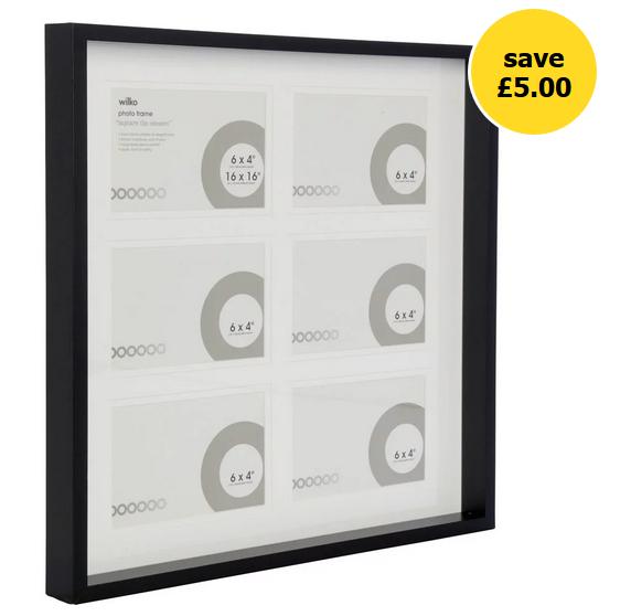 *HALF PRICE* Wilko 16 x 16 inch 6 Multi Aperture Black/Grey Photo Frame See OP for more info - £5 + Free C&C @ WIlko