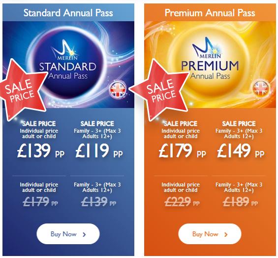 Merlin Annual Pass Membership Standard Membership £97.30 (3+ Adults) Premium Membership £132.30 (3+ Adults)