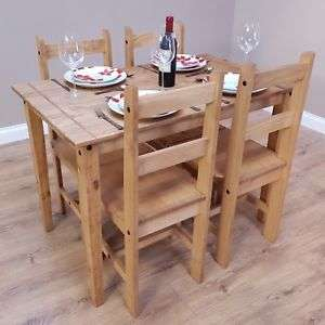 Corona Solid Pine Dining Table And 4 Chairs Set Mexican 83 94 With Code