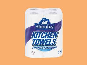 Lidl Super Weekend Deal 13/4 Floralys 4 Rolls 3 Ply Kitchen Towels 99p were £1.99