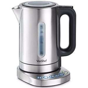 VonShef Kettle Variable Temperature Control Base Electric 1.7L 3000W Rapid Boil