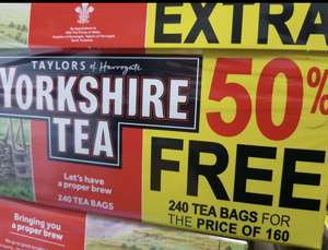Yorkshire Tea 160 for £3 @ One Stop but also had some with 50% free so 240 instead of 160