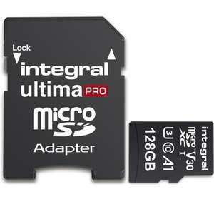 Price Drop + Code: Integral 128GB UltimaPRO V30 Premium Micro SD Card (SDXC) A1 UHS-I U3 + Adapter - 100MB/s for £13.49 with code @ Mymemory