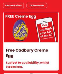 free creme egg for members of the Bargain Booze Club with app