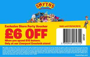£6 off when you spend £15 in store at Smyths (Liverpool Croxteth from 13/4 / Romford from 6/4)